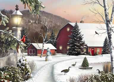 Christmas Scenes Oil Painting #SN061:Snowscape Christmas Scene C