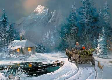 Christmas Scenes Oil Painting #SN066:Snowscape Christmas Scene C