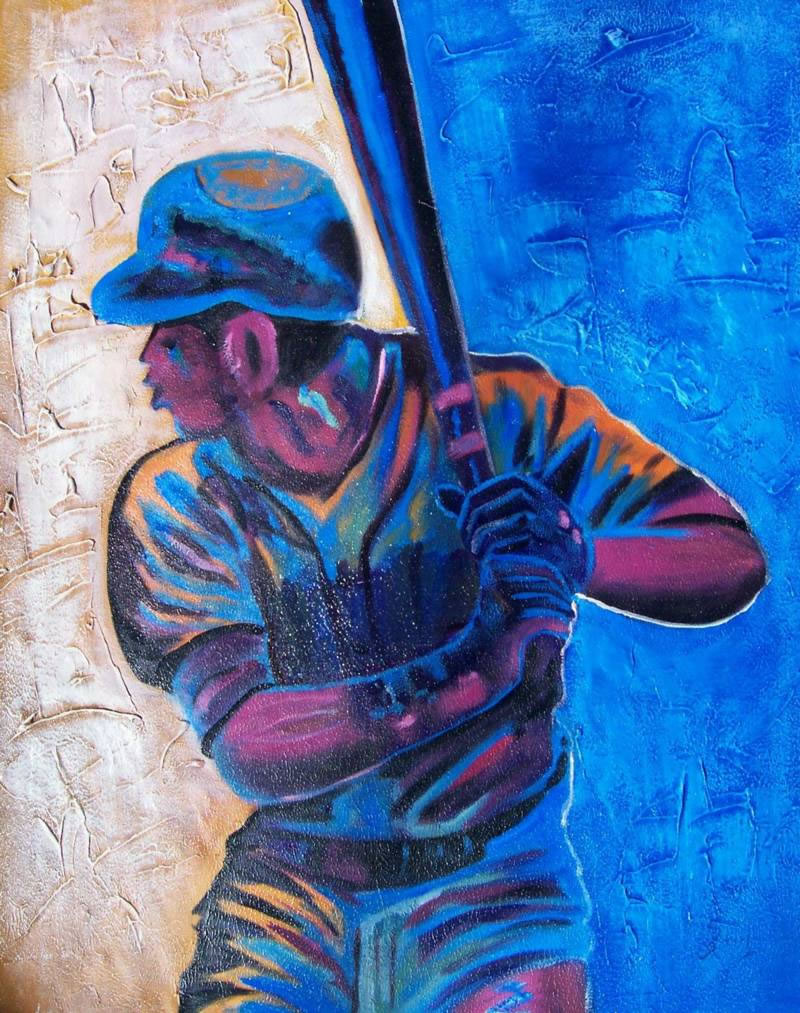 Sports Oil Painting #SP-1-03-654: Abstract Blue Basball Player S