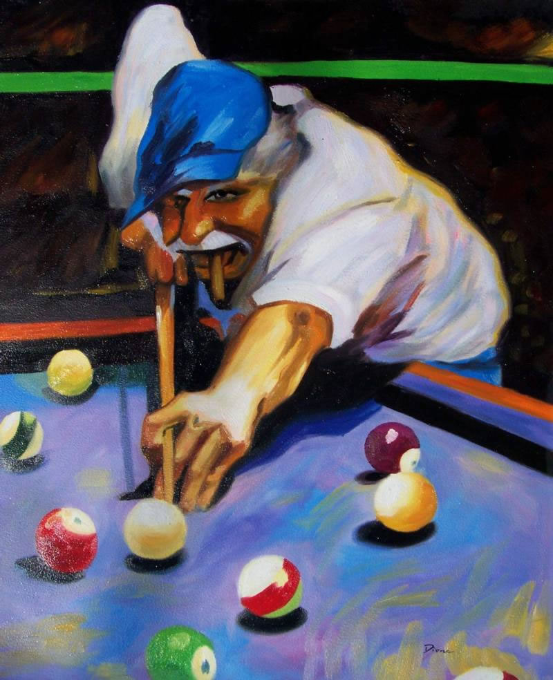 Sports Oil Painting #SP-1-05-655: Pool Player Cigar Sports