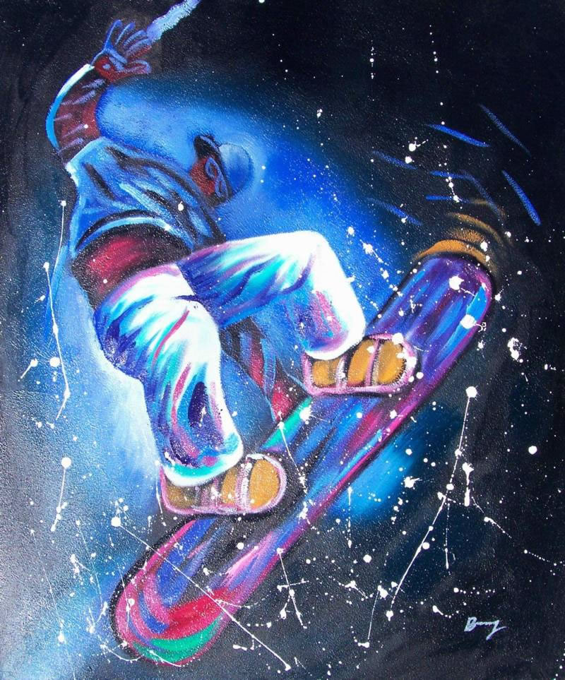 Sports Oil Painting #SP-1-18-656: Abstract Snowboards Sports