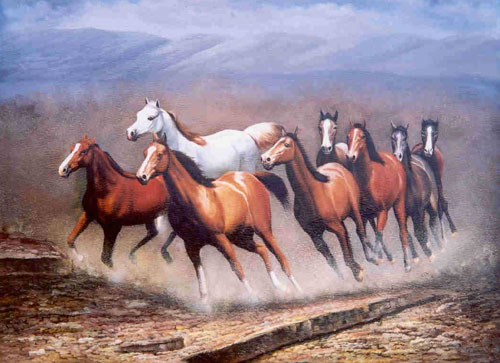 Animal Portrait Oil Painting #W008:Wilflife Hurd of Horses