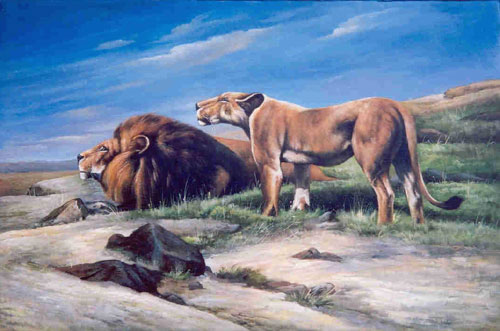 Animal Portrait Oil Painting #W012:Wildlife Lion and Lioness