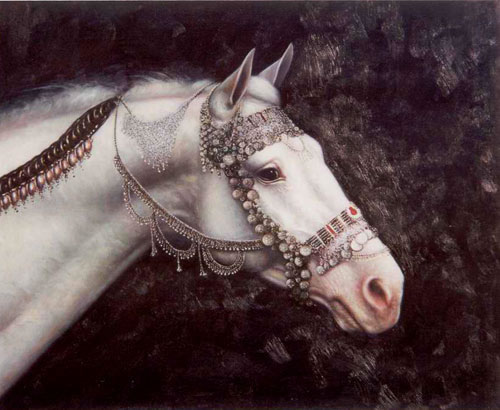 Animal Portrait Oil Painting #W059:White Horse Jewels
