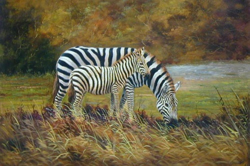 Animal Portrait Oil Painting #W074:Wildlife Zebra's Mother and C