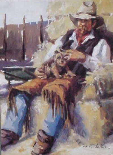 American Southwest Oil Painting #cb-1-07:Western Cowyboy Dog