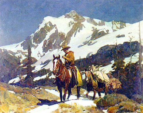 American Southwest Oil Painting #CST-04:Cowboy\'s Horseback Ridi
