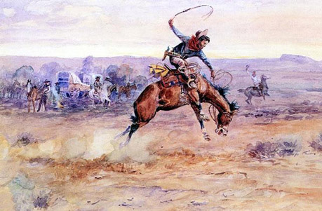 American Southwest Oil Painting #CST-06:Cowboy Horseback Riding