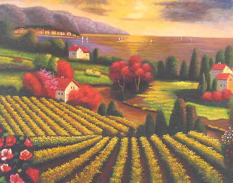 Museum Quality Oil Painting#CST-120:Sunset Tuscan Vinyard