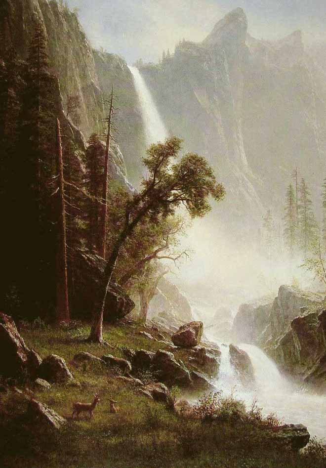 Museum Quality Oil Painting#CST-123:Nature Waterfall Mountains