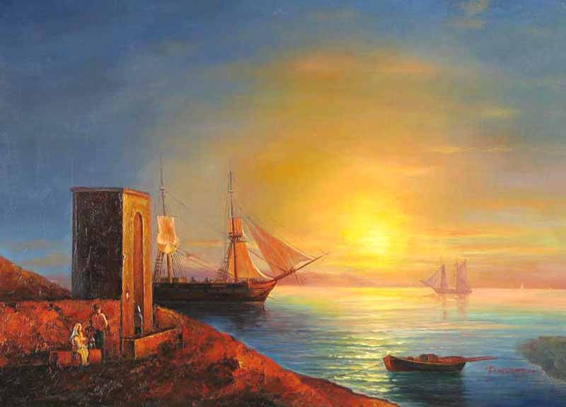 Museum Quality Oil Painting#CST-128:Sunset Tropical Ships