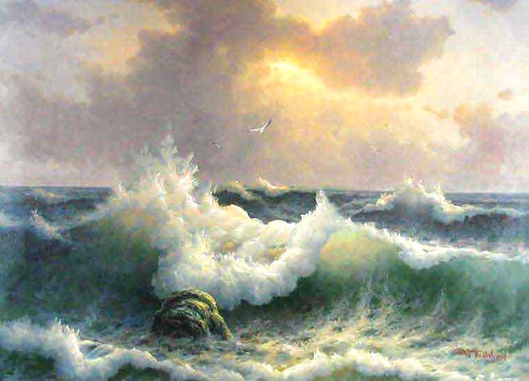 Museum Quality Oil Painting#CST-130:Tropical Beach Crashing Wave