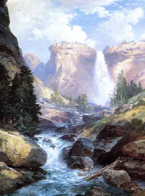 Museum Quality Oil Painting#CST-131:Nature Waterfall by Thomas M