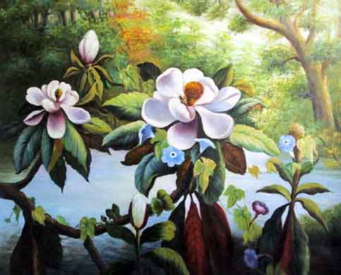 Museum Quality Oil Painting#CST-143:White Flowers Floral Art