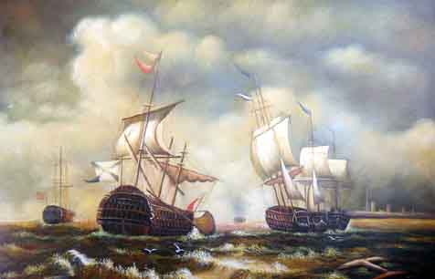 Museum Quality Oil Painting#CST-144:2 Clipper Ships War