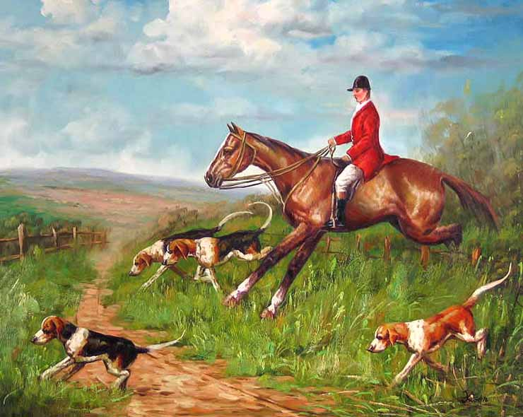 Museum Quality Oil Painting#CST-152:Horse Jockey & Dogs