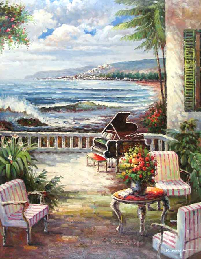 Museum Quality Oil Painting#CST-162:Ocean Side House Patio