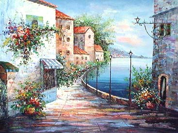 Museum Quality Oil Painting#CST-164:Mediterranean Homes