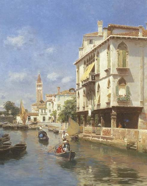 Museum Quality Oil Painting#CST-170:Venice Canale by Santoro
