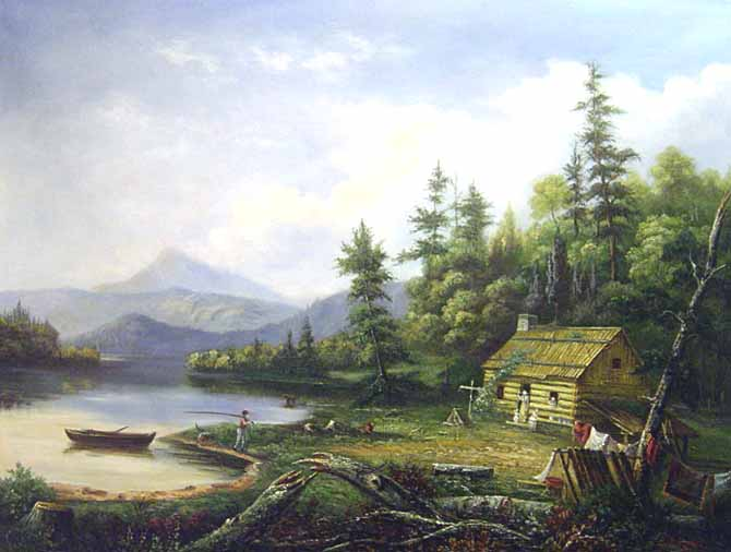 Museum Quality Oil PaintingCST 180Landscape Cabin Fishing Wood