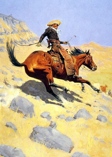 American Southwest Oil Painting #CST-05:Cowboy Horseback Riding