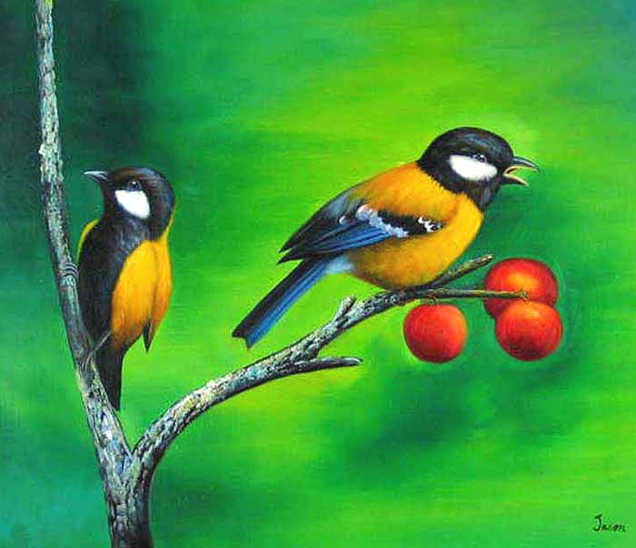 Museum Quality Oil Painting#CST-103:2 Birds on Tree