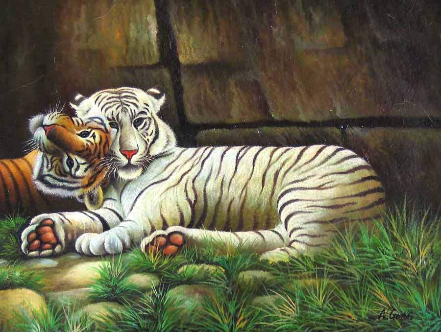 Museum Quality Oil Painting#CST-104:Wildlife Animals White Tiger