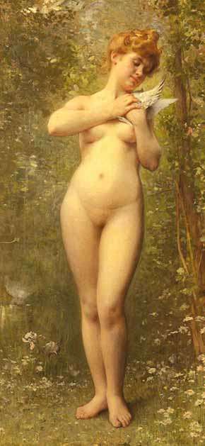 Museum Quality Oil Painting#CST-106:Nude Woman with Dove