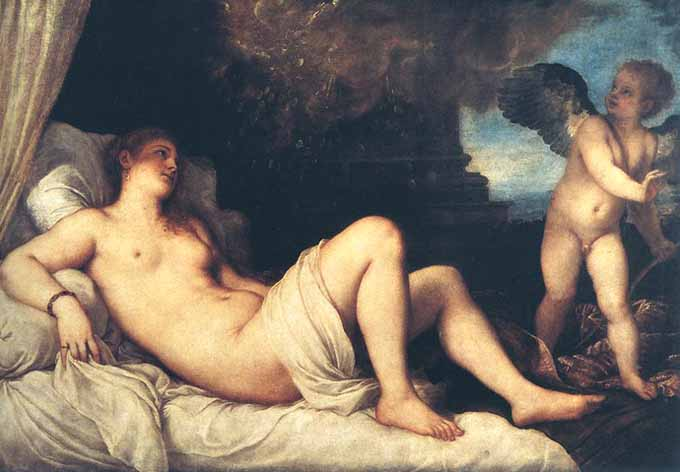 Museum Quality Oil Painting#CST-109:Nude Woman & Angel by Tizian