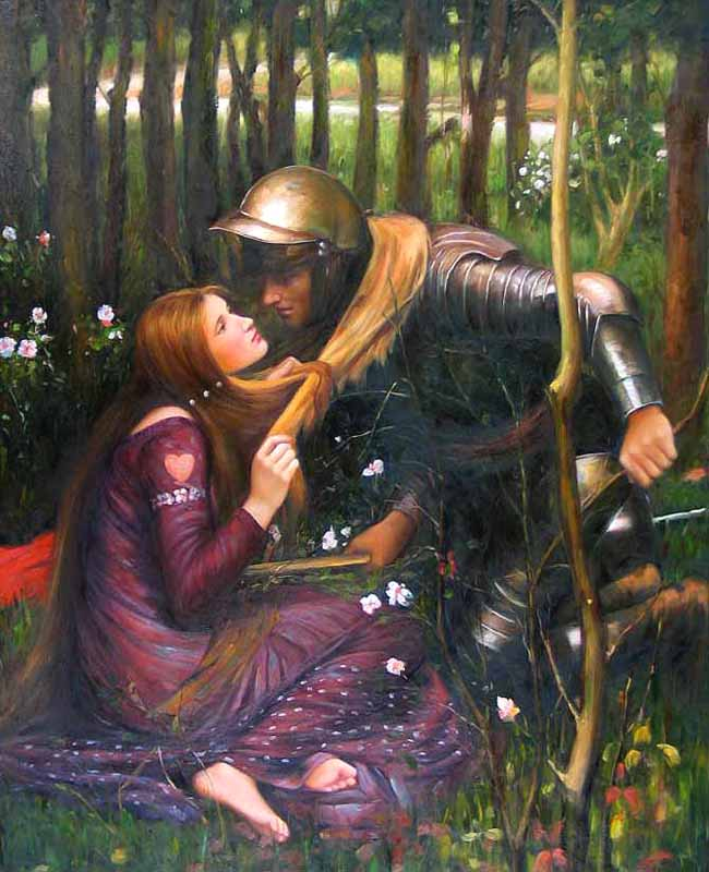 Museum Quality Oil Painting#CST-118:Knight & Wife Kissing