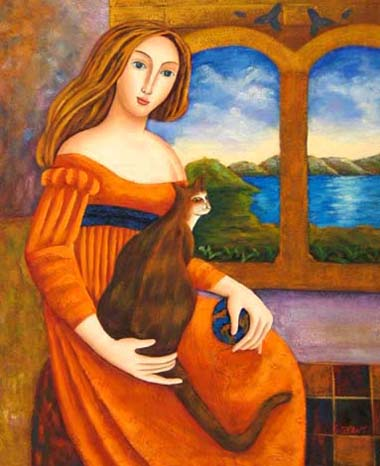 Modern Portraits Oil Painting #CST-020: Woman & Cat