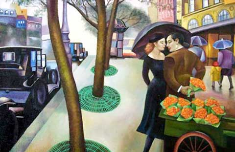 Modern Portraits Oil Painting #CST-022: Paris Couple