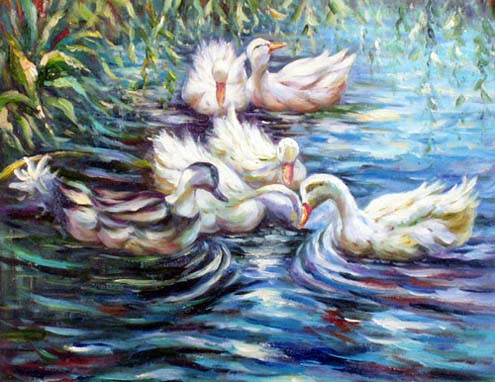 Animal Portrait Oil Painting #CST-33:Ducks in Lake