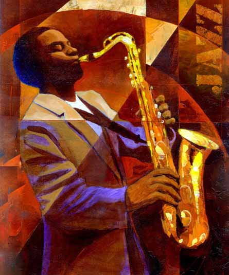 Black Art Oil Painting #CST-34:African American Musician