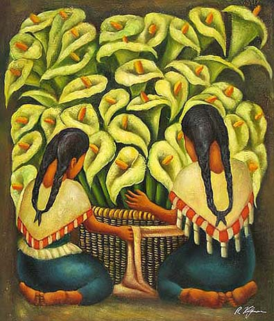 Mexican Art Oil Painting #CST-36:Diego Rivera Calla Lilly Vendor
