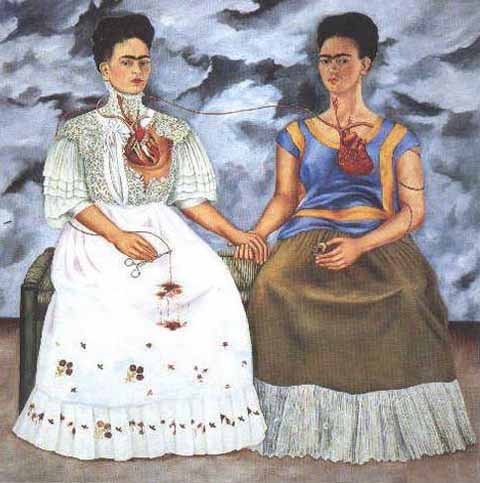 Mexican Art Oil Painting #CST-37:Frida Kahlo 2 Fridas
