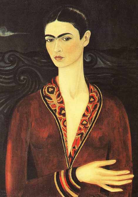 Mexican Art Oil Painting #CST-38:Frida Kahlo Self Portrait Velve