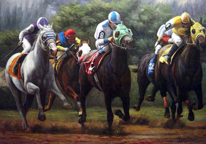 Sports Oil Painting #CST-41:Horse Jockeys Derby