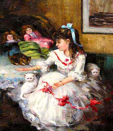 Museum Quality Oil Painting #CST-55:Girl with Playful Cats