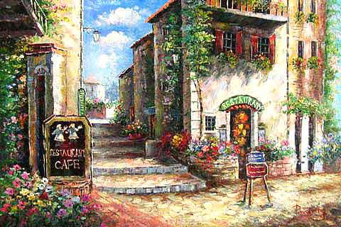Museum Quality Oil Painting#CST-61:Mediterranean Terrace at Bell