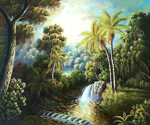 Museum Quality Oil Painting#CST-62:Palm Tropical Scene