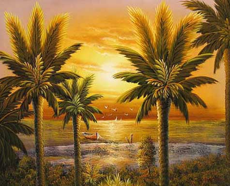 Museum Quality Oil Painting#CST-63:Palm Tropical Sunset Scene