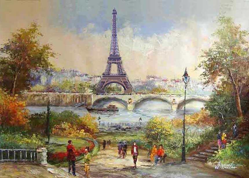 Museum Quality Oil Painting#CST-65:Paris Eiffel Tower