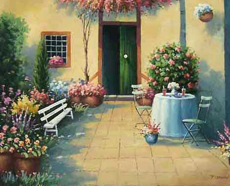 Museum Quality Oil Painting#CST-66:Floral Patio