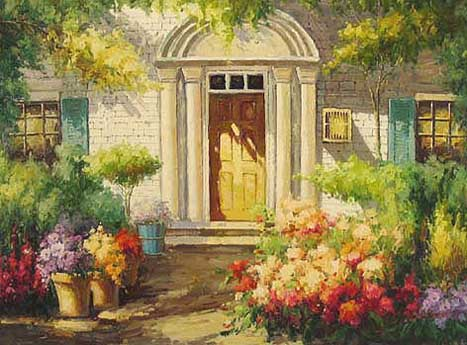 Museum Quality Oil Painting#CST-67:Patio Sunlit Garden
