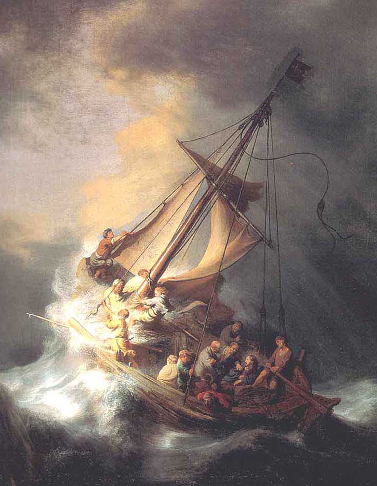 Museum Quality Oil Painting#CST-68:Christ in the Storm Sea Ship