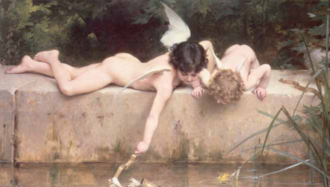 Museum Quality Oil Painting#CST-80:Nude Angeles by Emile Munier