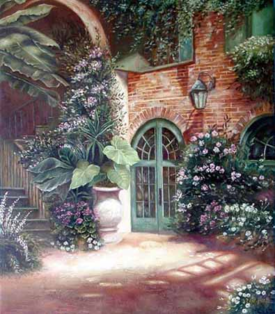 Museum Quality Oil Painting#CST-83:Courtyard Flowers