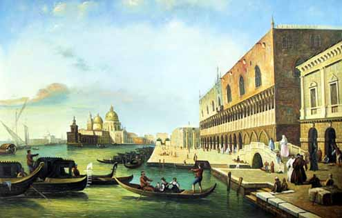 Museum Quality Oil Painting#CST-84:Venice Canals Sunset