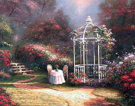 Museum Quality Oil Painting#CST-85:American Gazebo Garden